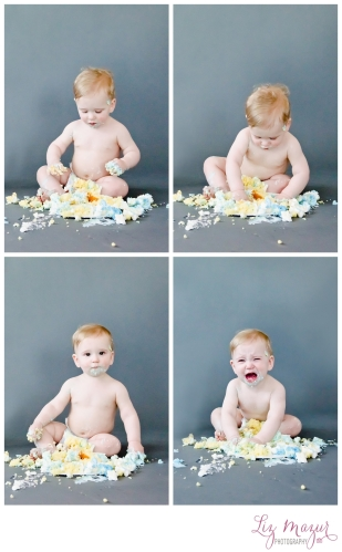 grayslake photographer 1st birthday cake smash